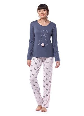 Pamuk & Pamuk Kadın Çam Ağaç Desenli Tavşanlı Füme Pijama Takımı W2009 Kadın Çam Ağaç Desenli Tavşanlı Fü